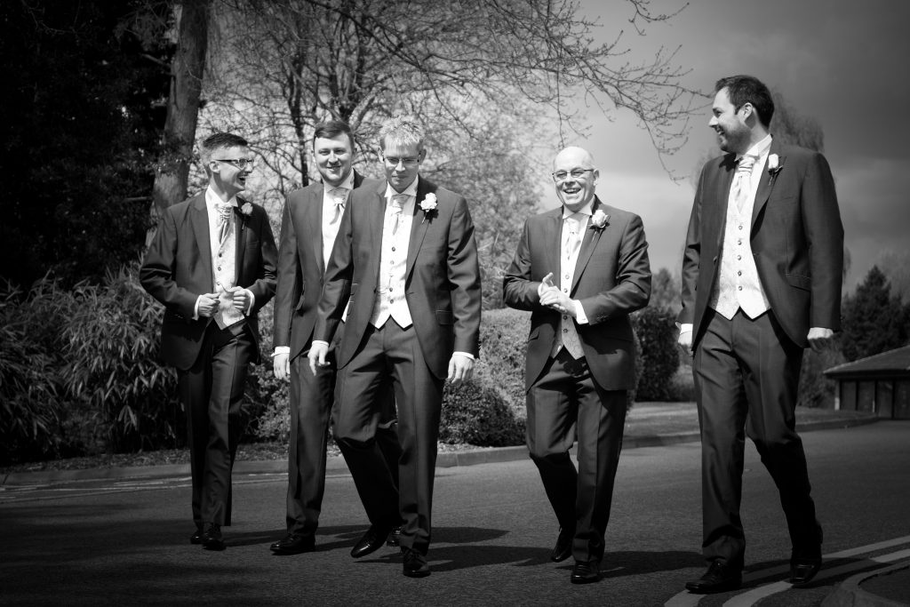 The groomsmen prepare for the wedding at Barnsdale