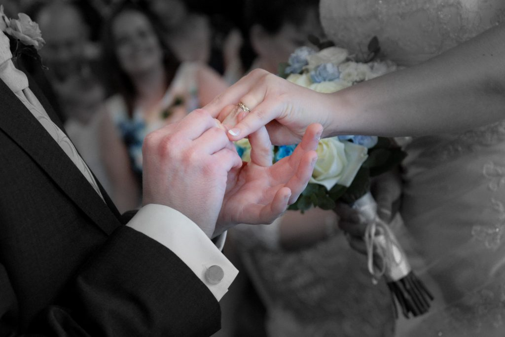wedding ceremony at Barnsdale Hall