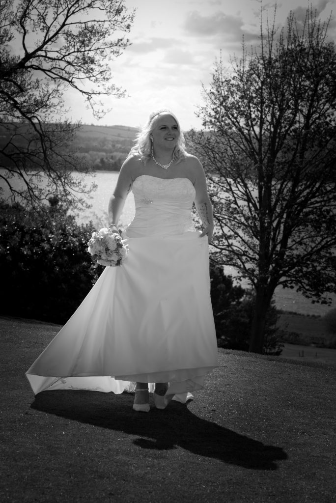 Black and white wedding photograph at Barnsdale Hall